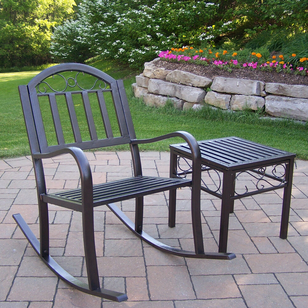 Outdoor metal rocking chair seat porch deck patio glider for Outside porch chairs