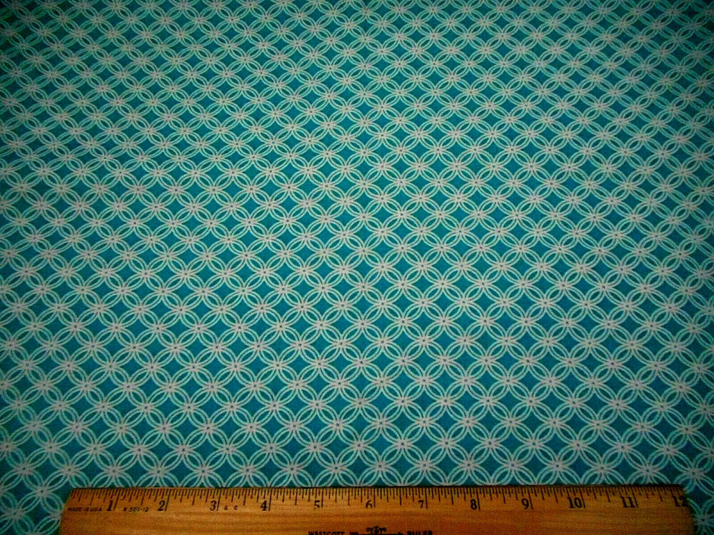 Cotton fabric bty white circles on turquoise blue quilting for Cotton quilting fabric