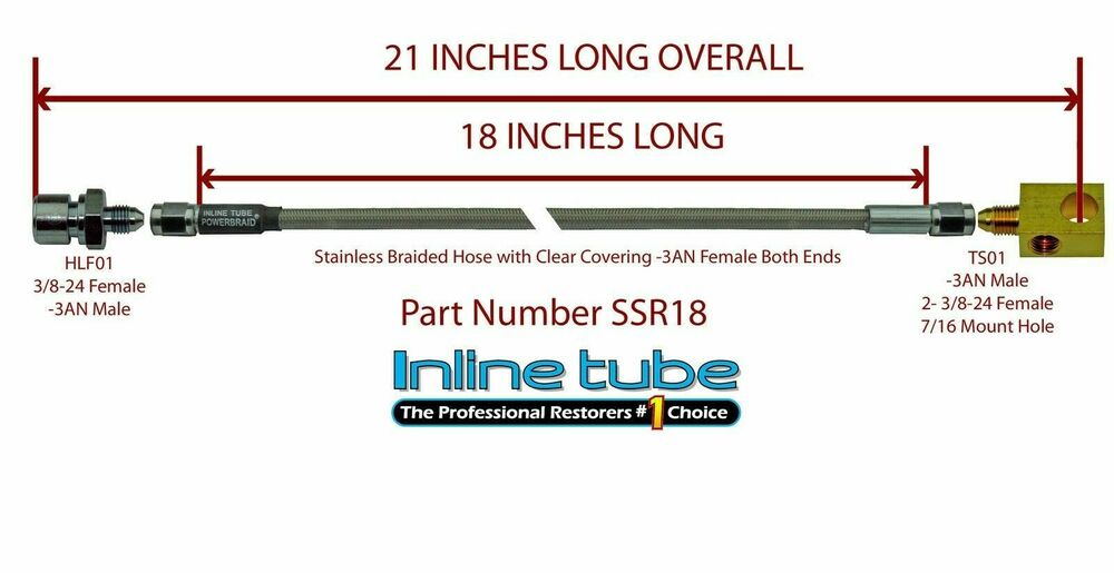 Stainless steel braided rear brake hose tube with tee
