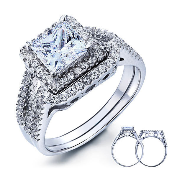 PRINCESS CUT 925 STERLING SILVER CZ WEDDING ENGAGEMENT RING SET SIZE 5 9 SS20