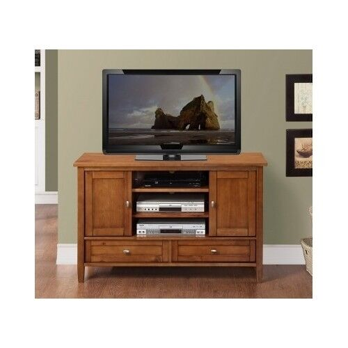 TV Stand Entertainment Center Solid Wood Storage Console Media Cabinet ...