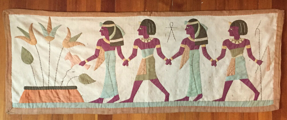 Wall Hanging Art Deco Tapestry : Antique egyptian revival art deco applique tapestry