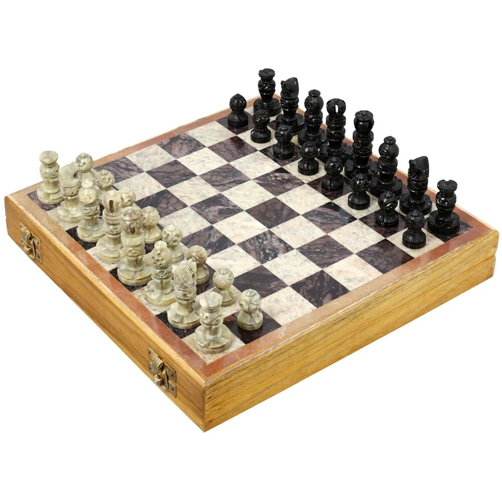 Indian Handmade Stone And Wood Chess Set Unique Gifts For