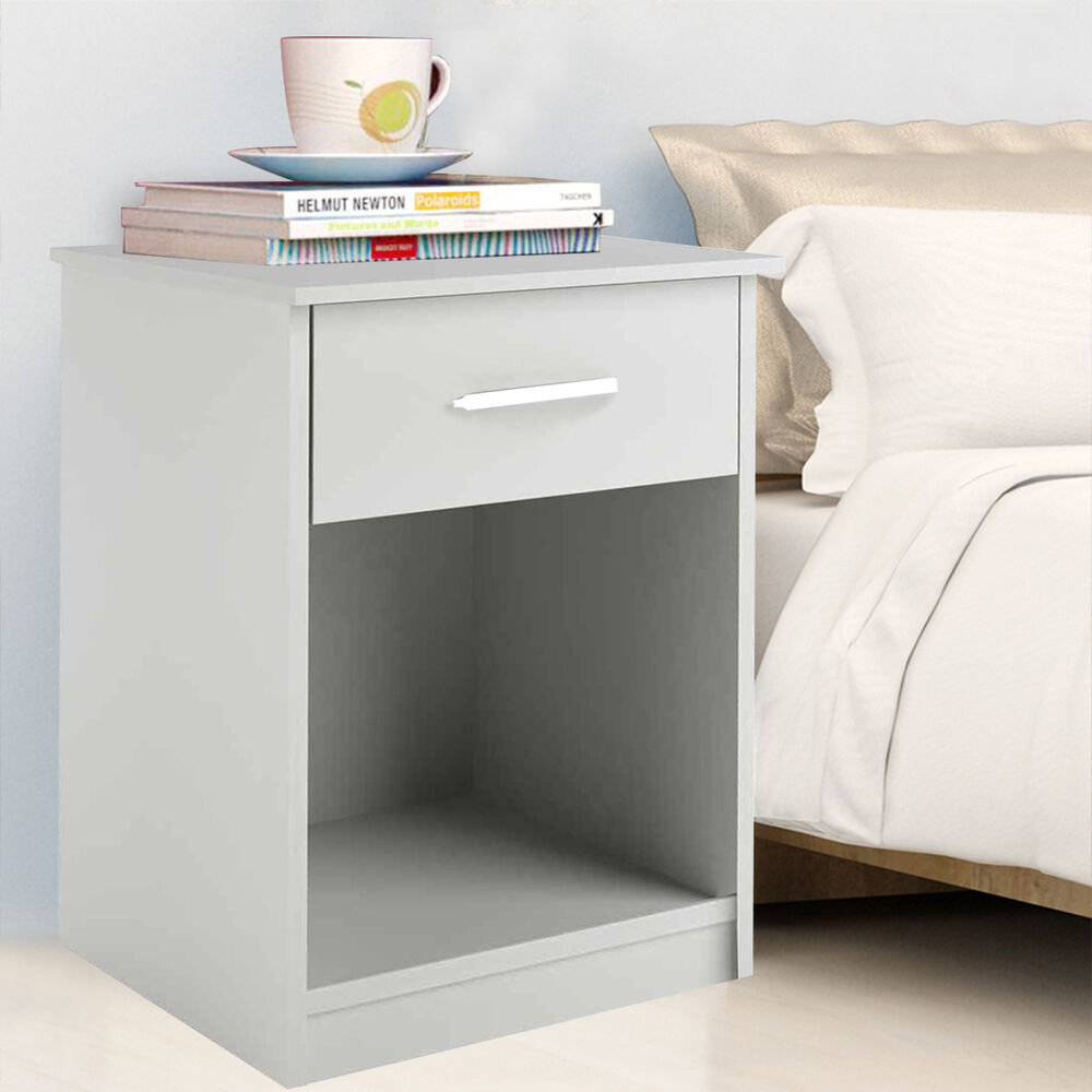Costway White Night Stand Bedroom Stand Bedside Furniture