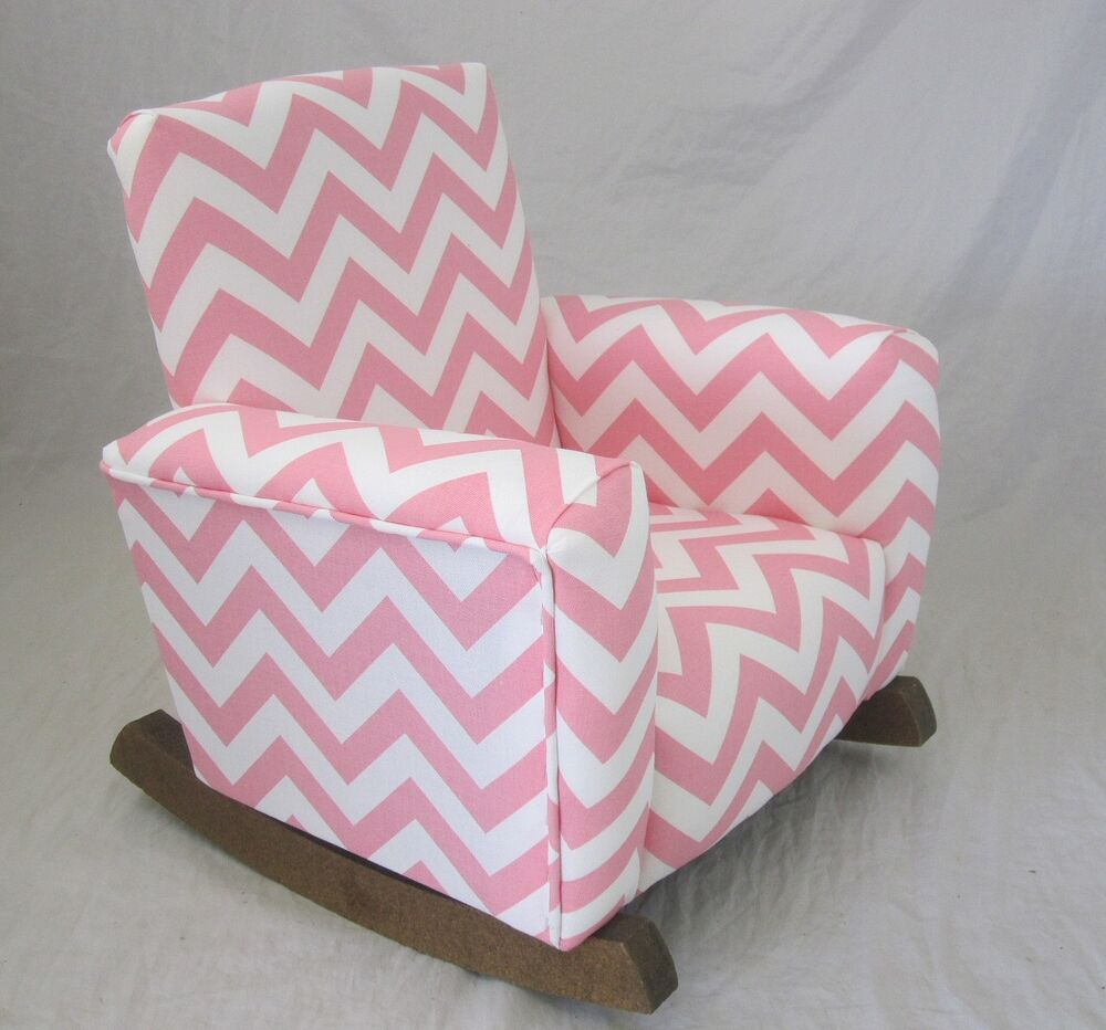 New Childrens Upholstered Rocking Chair Zig Zag Baby Pink ...