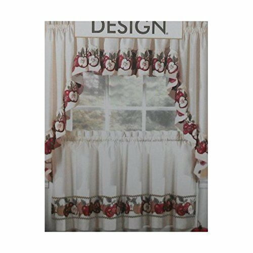 3pc Kitchen Cafe Apple Curtain Tier Swag Set Window