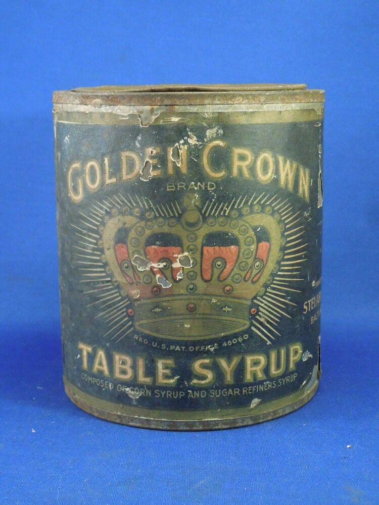 Empty Tin Can Stock Photography: Vintage Golden Crown Brand Table Syrup Can Steuart Son