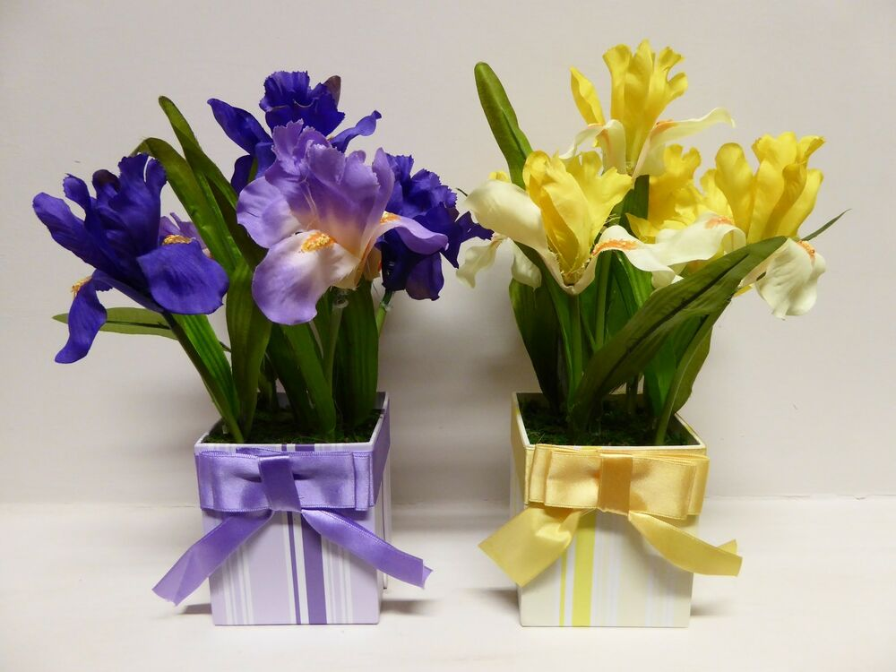 Large Artificial Iris Plant In A Decorative Box Pot Plants