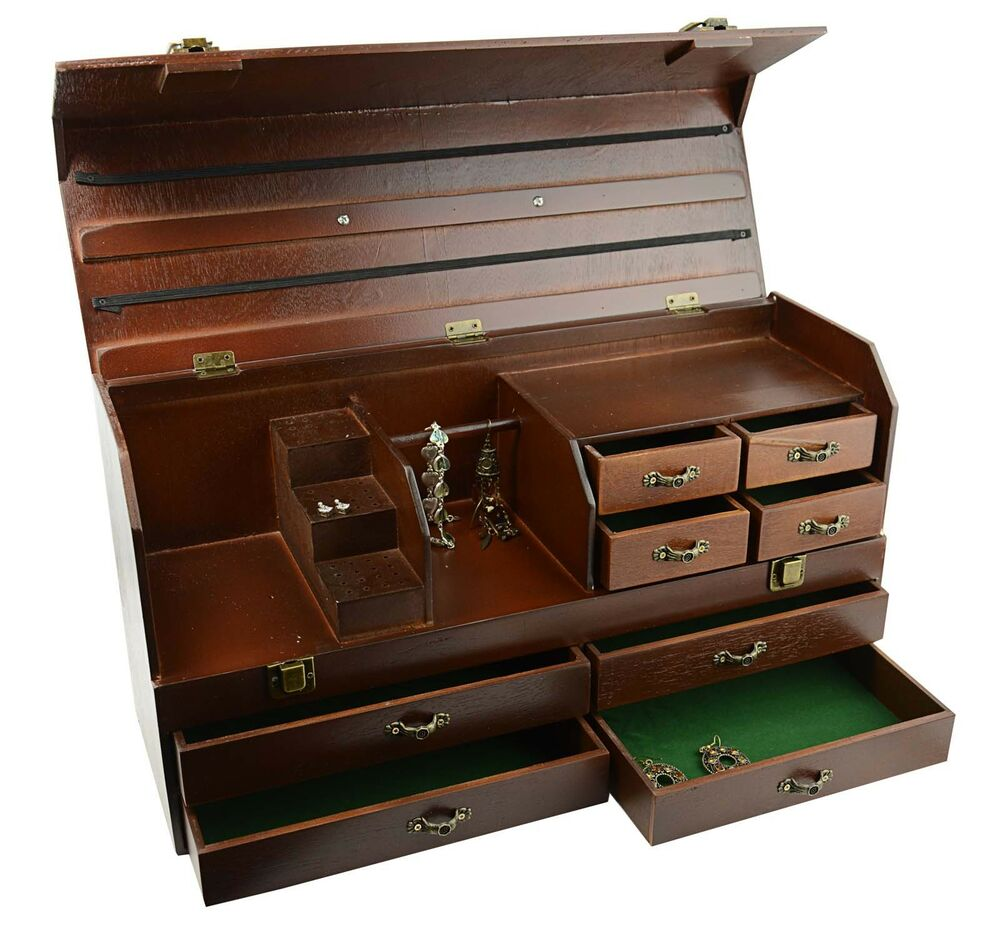wooden jewellery tool storage treasure chest bd803 54 ebay