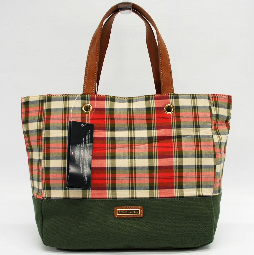 tommy hilfiger authentic plaid multi small tote bag handbag purse nwt ebay. Black Bedroom Furniture Sets. Home Design Ideas