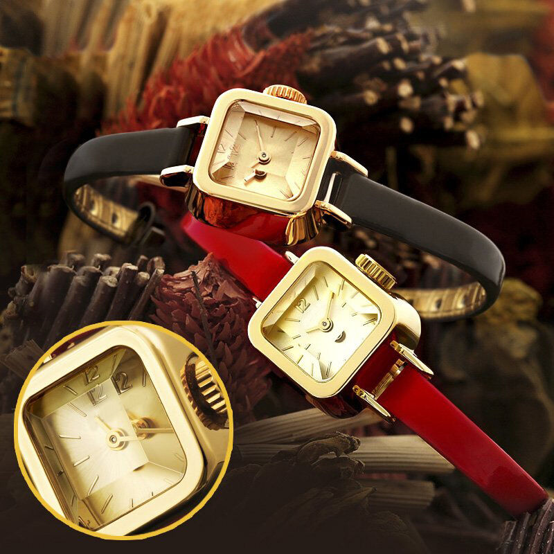 Gold metal dress women watch ladies girls watch small leather strap wristwatches ebay - Small tin girl ...