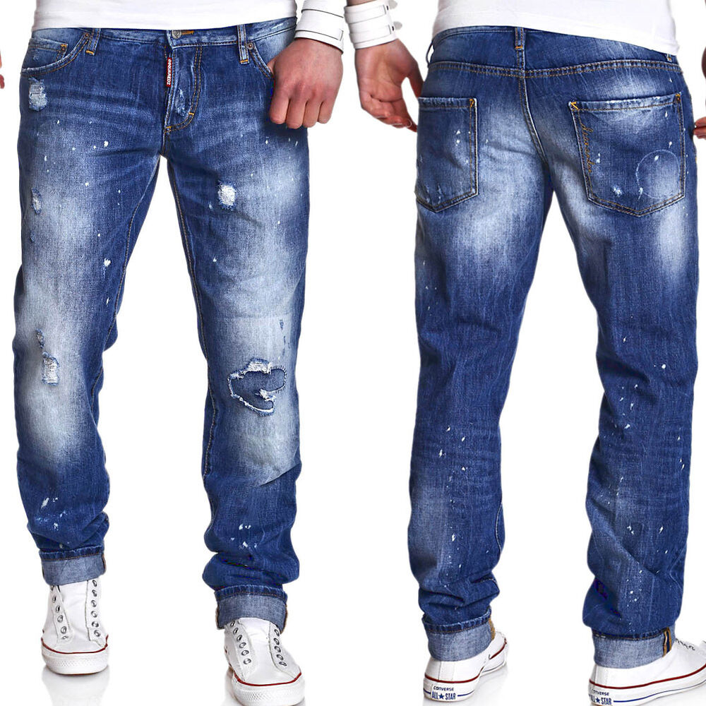 dsquared2 herren jeans slim vintage destroyed blau s74la0712 neu ebay. Black Bedroom Furniture Sets. Home Design Ideas