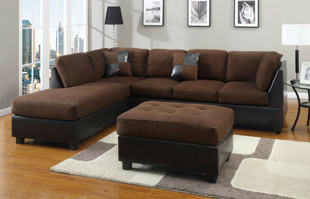 Chocolate sectional couch 3 pc set microfiber sofa for Couch 0 finanzierung