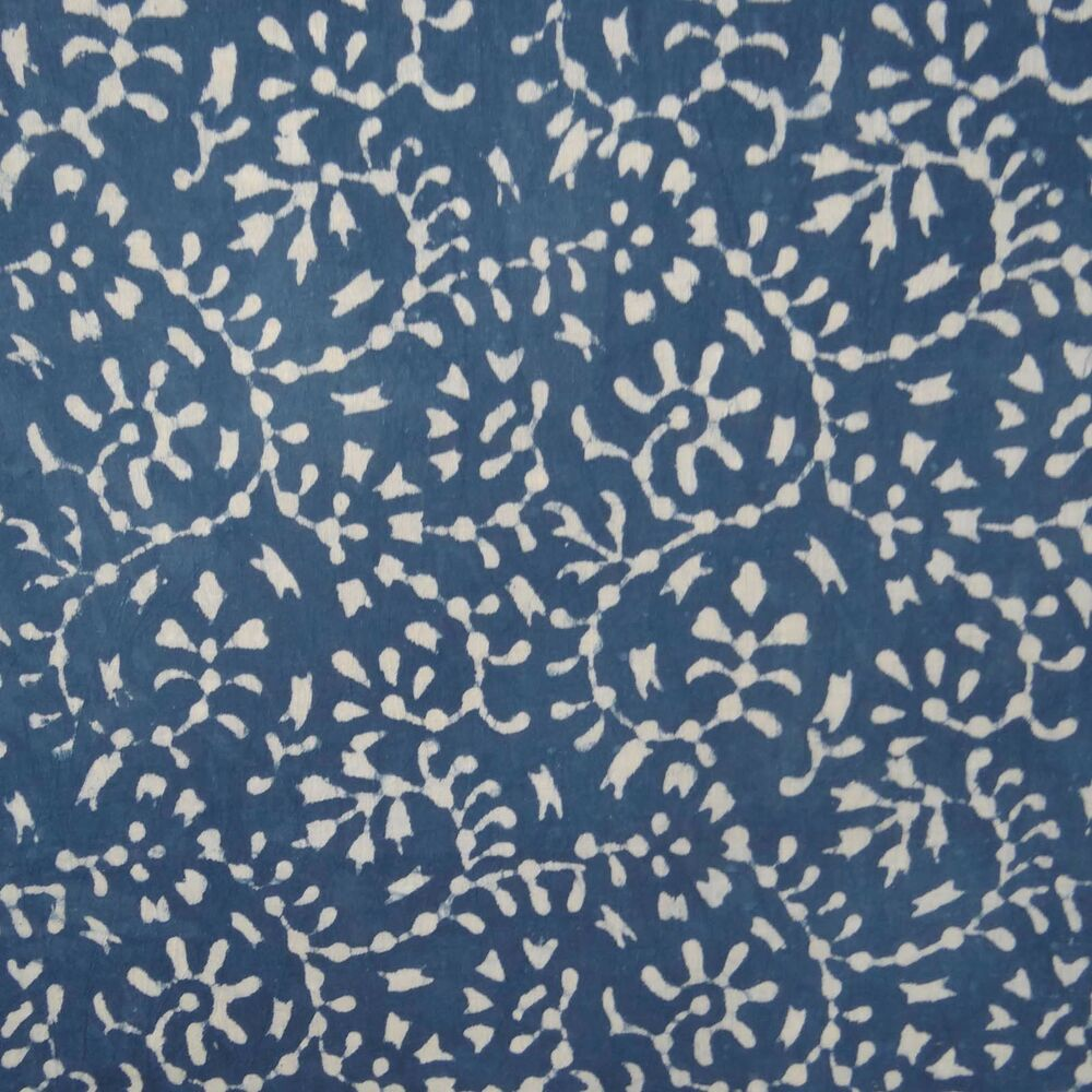 Hand block print indian cotton voile sewing fabric blue for Sewing fabric by the yard