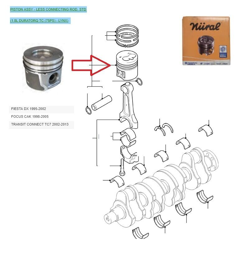52 Ford Transit Connect 1 8td Swb: GENUINE NURAL PISTON FOR FORD TRANSIT CONNECT FOCUS FIESTA 1.8 DIESEL