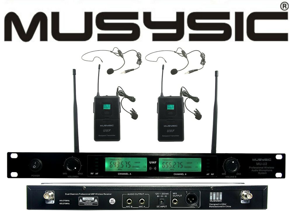 professional dual channel uhf lapel lavalier wireless microphone system headset ebay. Black Bedroom Furniture Sets. Home Design Ideas