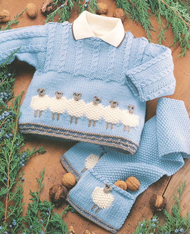 Knitting History Facts : Baby sheep sweater jacket scarf hat years dk