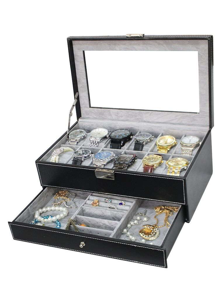 Watch Box Jewelry Case Organizer Large 12 Mens Black