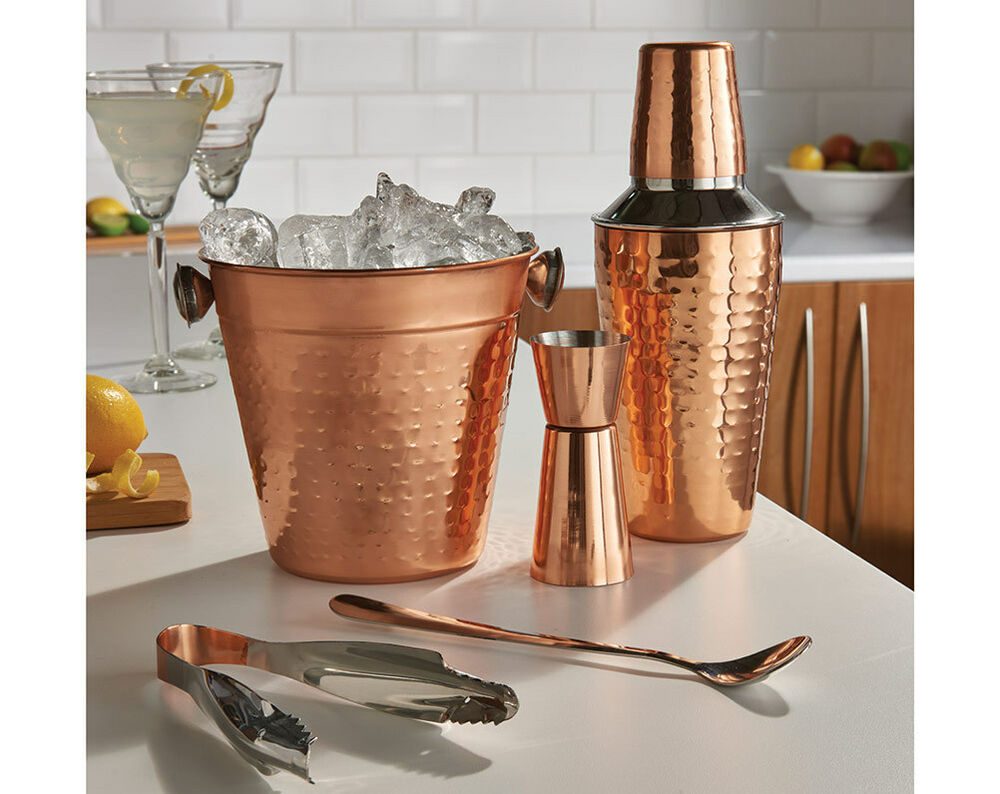5 pcs copper cocktail shaker gift set mixer making home bar kit accessories new ebay. Black Bedroom Furniture Sets. Home Design Ideas