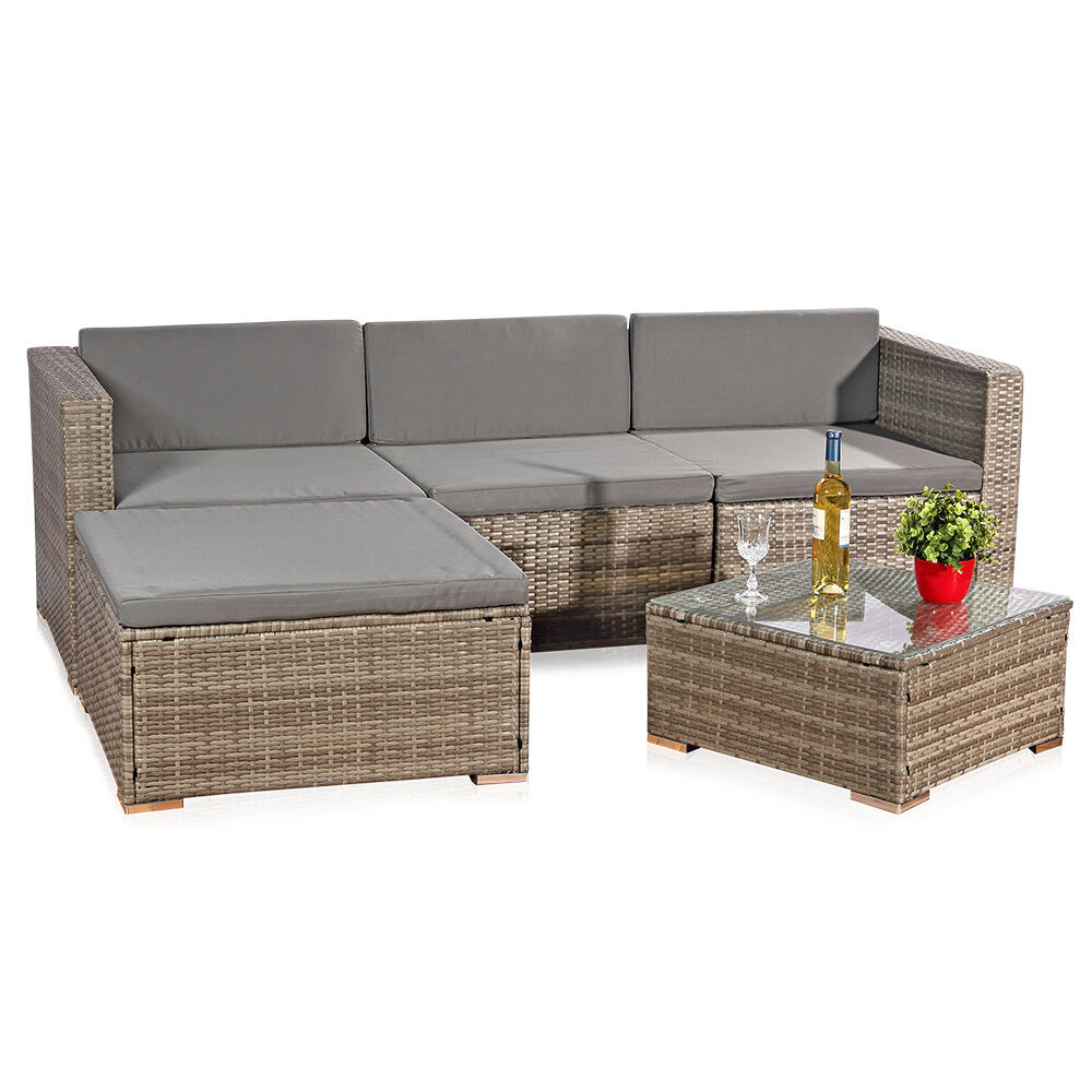 5tlg garten ecksofa lounge mit tisch polster sitzgruppe rattanm bel grau ebay. Black Bedroom Furniture Sets. Home Design Ideas