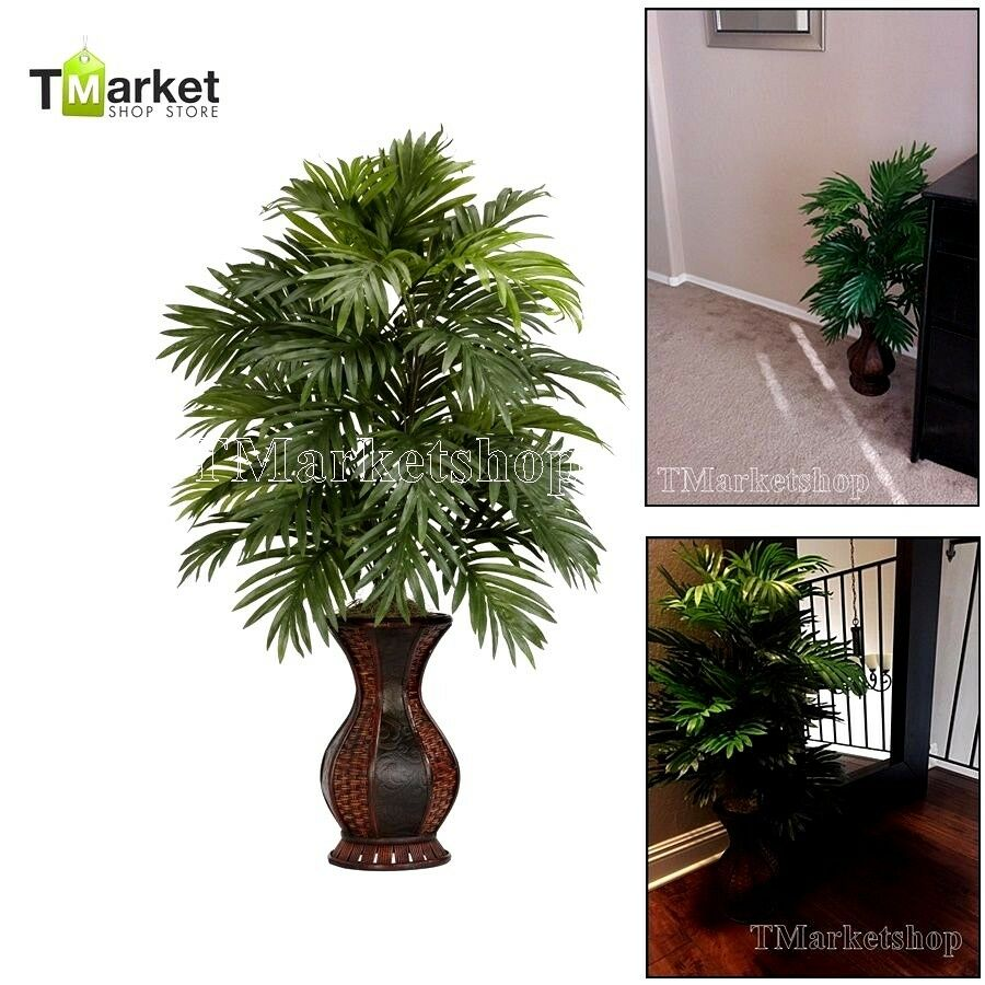 Artificial areca palm realistic tree fake decor garden for Artificial plants indoor decoration