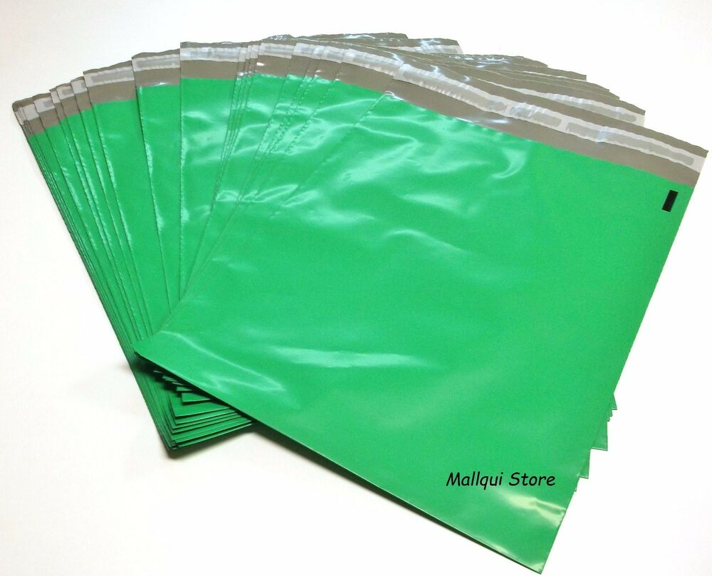 25 green color poly shipping bags 10 x 13 plastic mailer for 10x13 window envelope