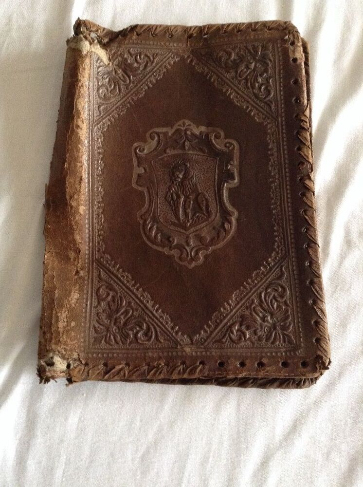Rare antique italian leather book cover ebay for Most valuable antiques to look for