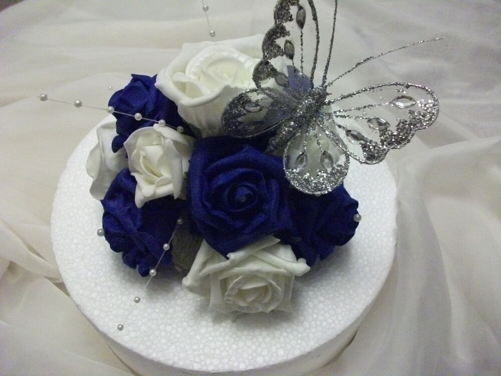 WEDDING FLOWER CAKE TOPPER Royal Blue And Ivory With Butterfly
