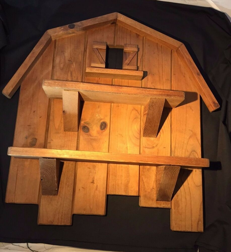 Hand-Crafted Rustic Barn-Shaped Wood Wall Shelf
