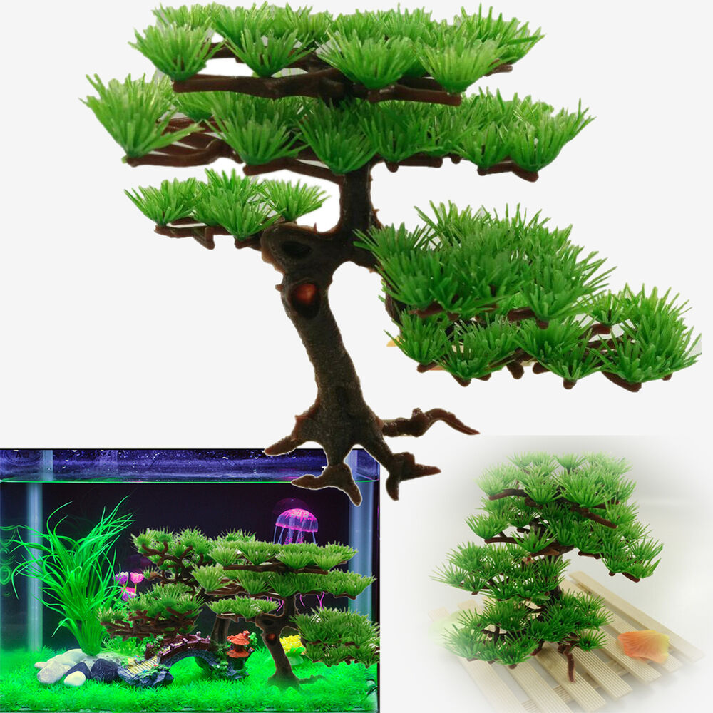 7 4 x3 9 aquarium artificial plastic tree plant fish tank for Tall fish tank decorations