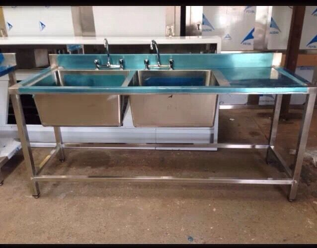 commercial catering kitchen stainless steel double bowl
