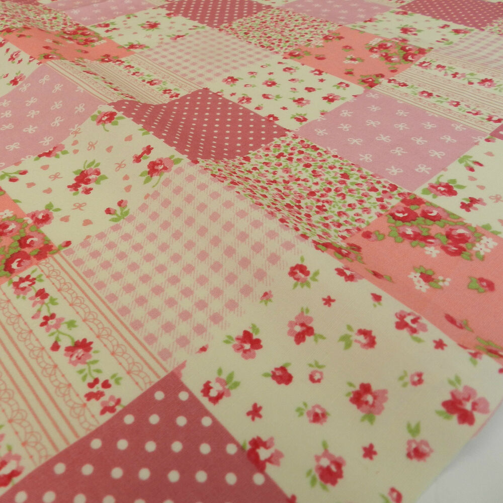 half x metre beautiful patchwork effect pink fabric shabby chic 100 cotton 45 ebay. Black Bedroom Furniture Sets. Home Design Ideas