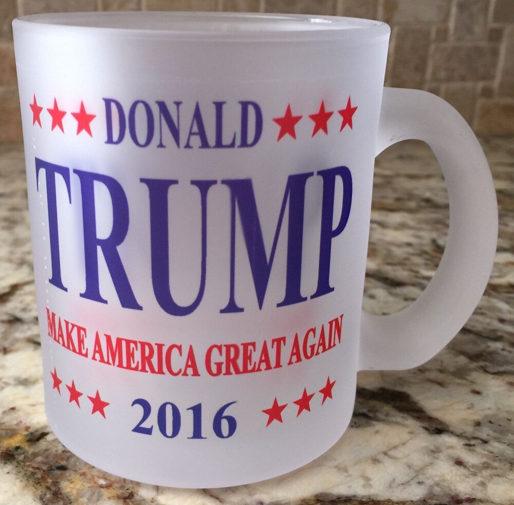 Frosted Glass Coffee Tea Mug Cup 10oz Donald Trump 2016