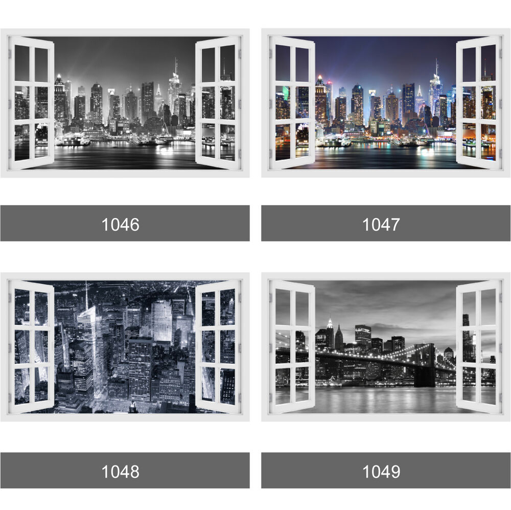 3D Window New York City Skyline View Wall Stickers Wall Mural Wall Decals