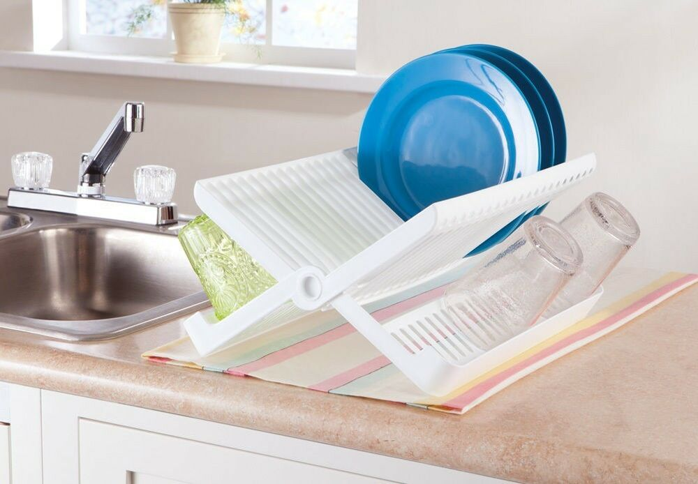 Compact space saver foldable dish drying rack drainer small kitchen drip dry ebay - Dish rack for small space collection ...