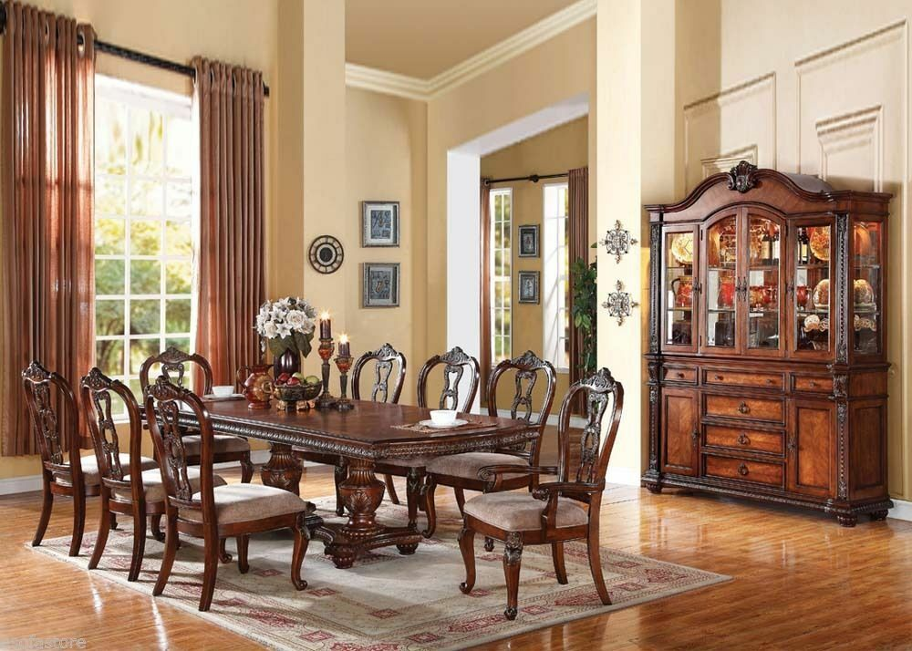 traditional antique tobacco cherry dining room table chairs 9 piece dining set ebay. Black Bedroom Furniture Sets. Home Design Ideas