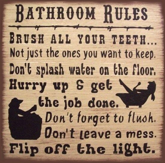 Western Bath Rules Rustic Primitive Country Wood Sign Home Decor
