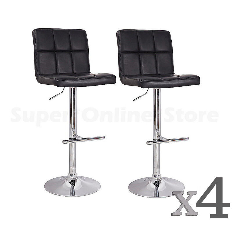 Swivel Counter Stool Bar Stool High Chair Black Kitchen: Set Of 4 PU Leather Swivel Grid Bar Stools Black Kitchen