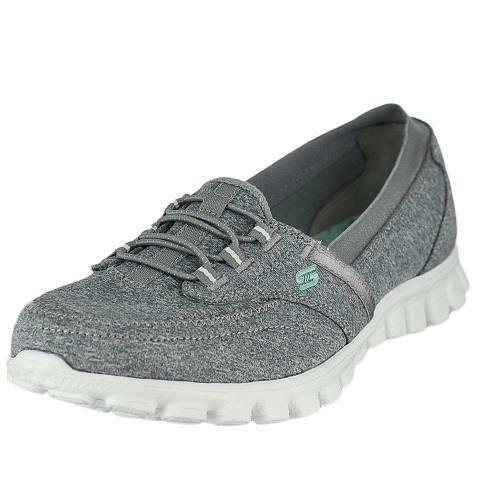 Sketchers Flex Black And Silver Slip On Memory Foam Shoes