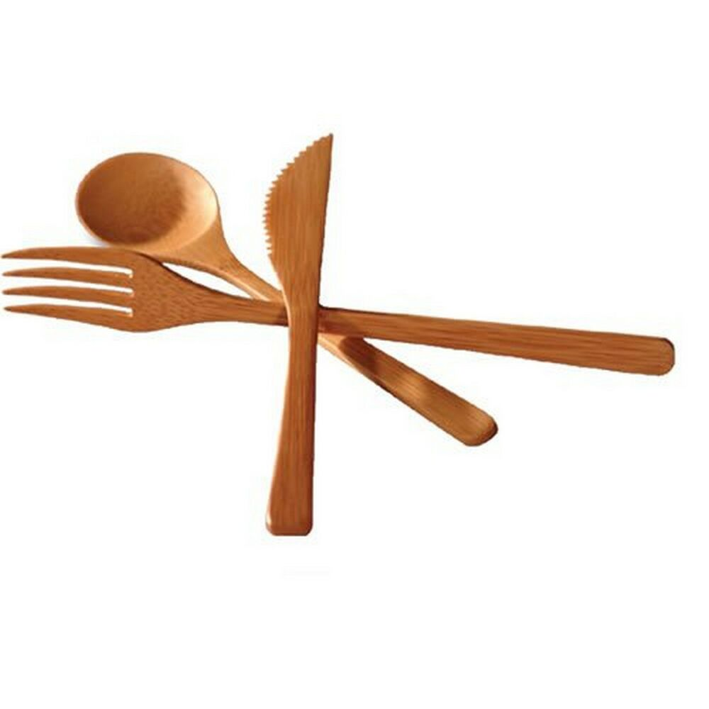 bamboo flatware fork knife and spoon 3 piece set s 3785 ebay. Black Bedroom Furniture Sets. Home Design Ideas