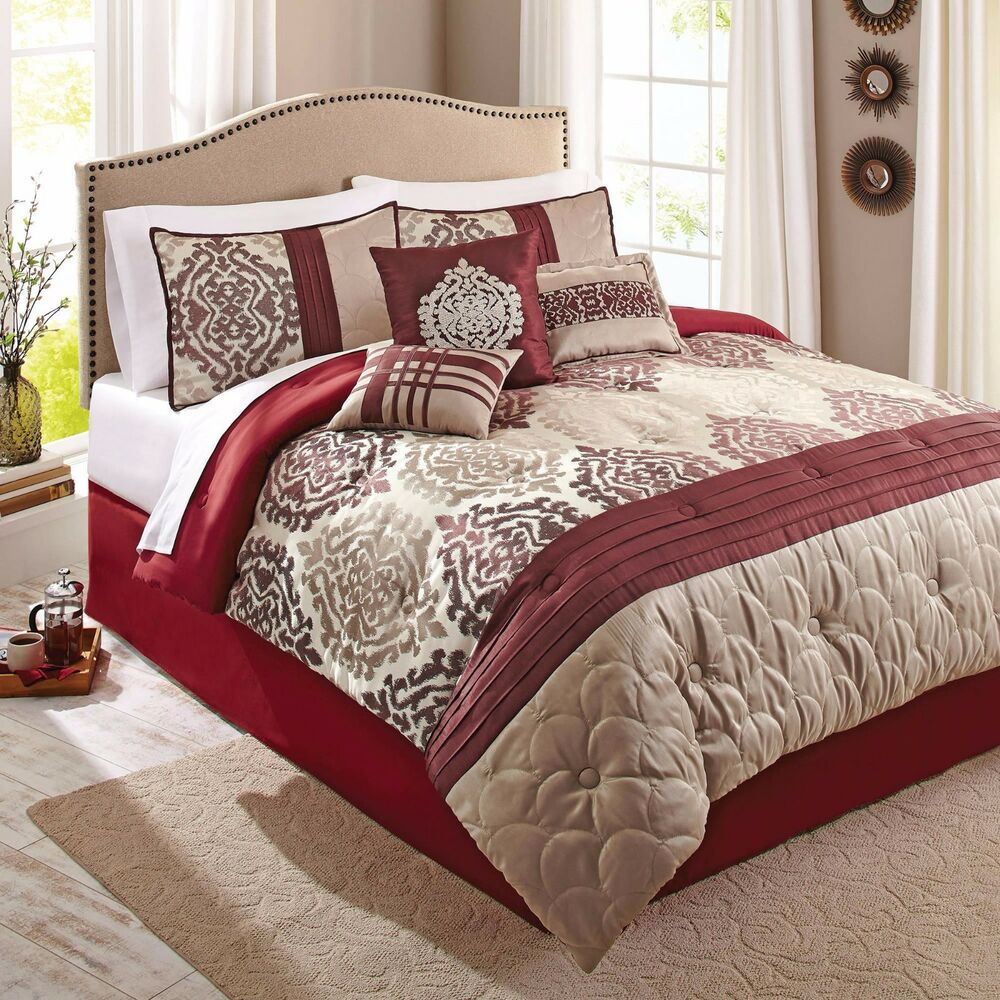 scrollwork 7 piece red beige ikat eye catching bedding 10819 | s l1000