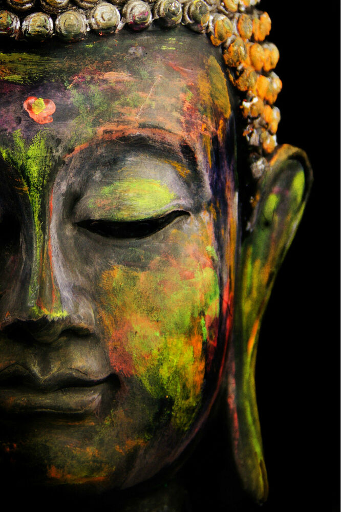 Abstract buddha statue wall art canvas framed or poster for Modern art prints posters