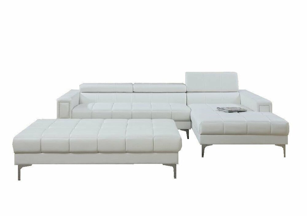 Modern White Bonded Leather Sectional Sofa With Oversize