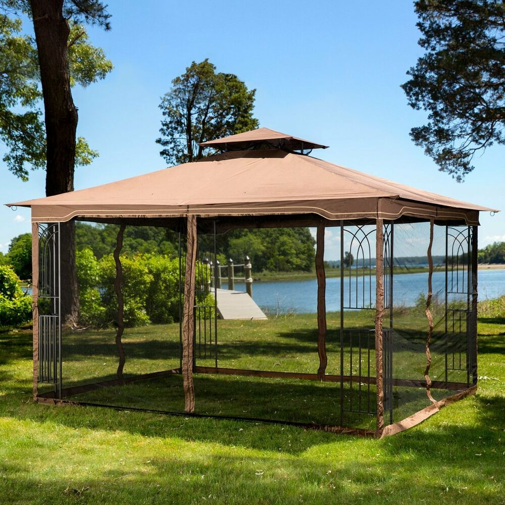 Gazebo metal frame canopy mosquito netting outdoor - Insect netting for gazebo ...