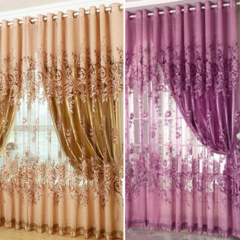 exciting living room curtains drapes | 1pc Floral Voile Window Curtain Blackout Tulle Curtain ...