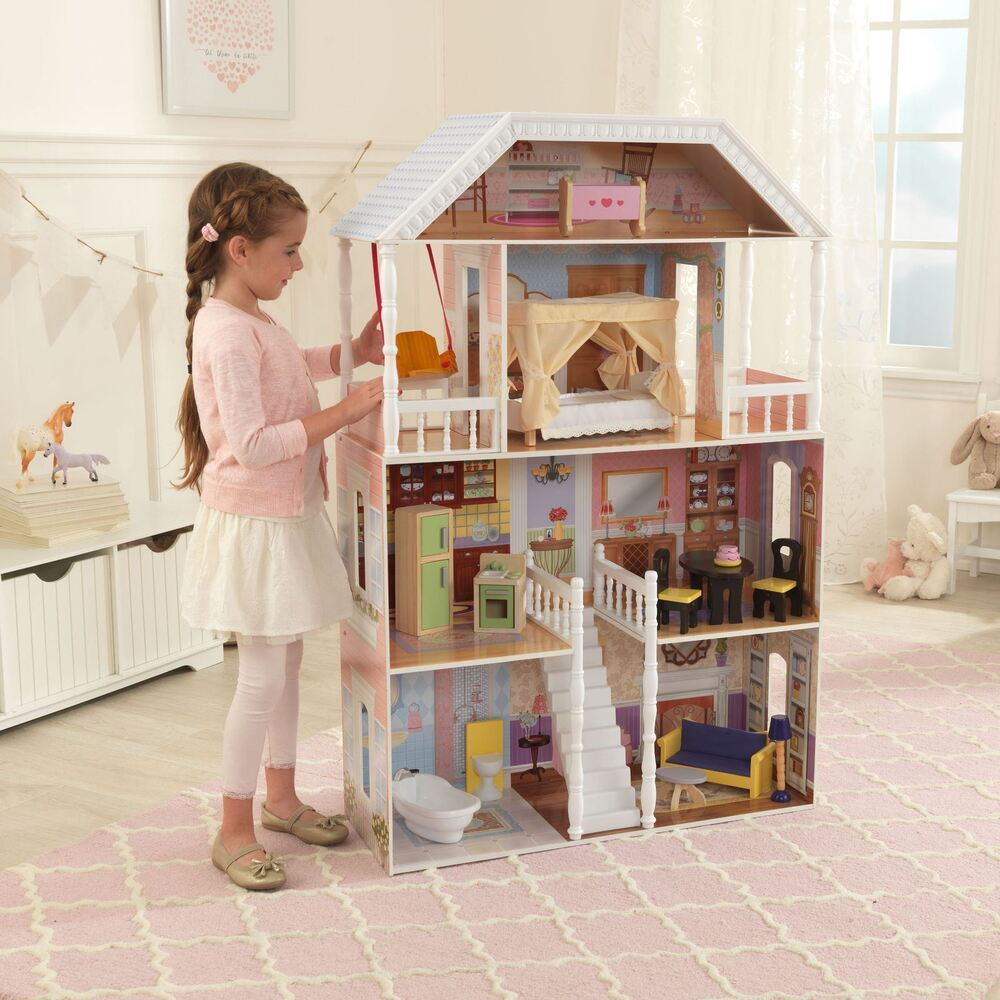 Barbie Size Wooden Dollhouse Furniture Doll Girls Playhouse Play House 13pc New Ebay
