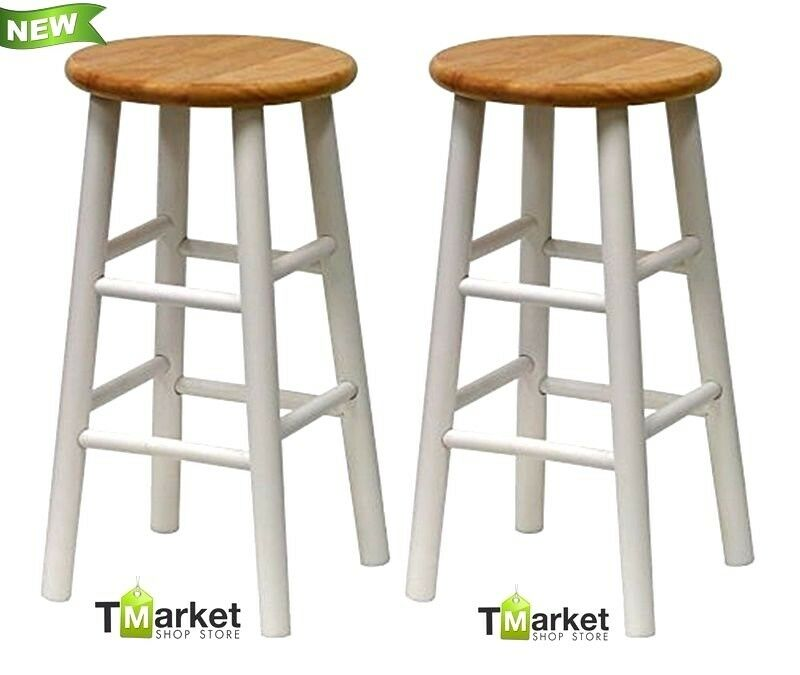 SET 2 Solid Wood Bar Stools Counter Height Seat Kitchen