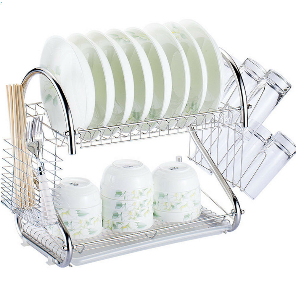 2 Tier Multi Function Stainless Steel Dish Drying Rack Cup