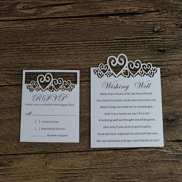 50-Personalized Wedding Invitation RSVP Cards,Free Custom