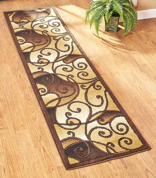 Decorative extra long runner floor tan scroll rug hallway for Home decorators rug runners
